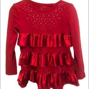 Red Sparkly Long Sleeve Ruffle Top Girls 10